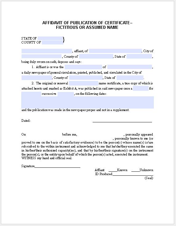 Affidavit Form Publication-Certificate Fictitious Name