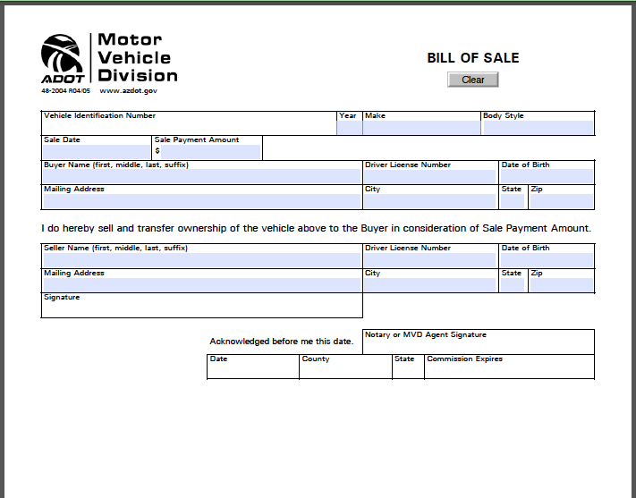 Auto Bill Of Sale As Is No Warranty: Arizona Bill Of Sale Form - Free Fillable PDF Forms