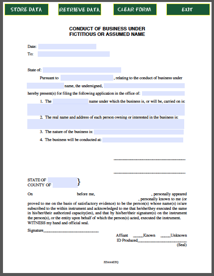 Conduct of Business Certificate Template (Under Fictitious ...