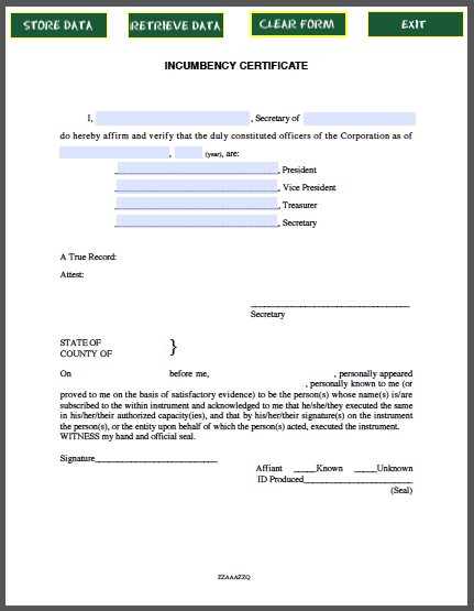 Incumbency certificate template free fillable pdf forms free fillable pdf forms for Certificate of incumbency template