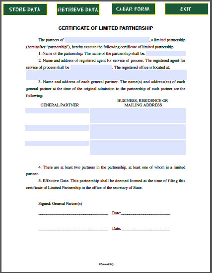 Limited partnership certificate template free fillable pdf forms free fillable pdf forms for Certificate of incumbency template