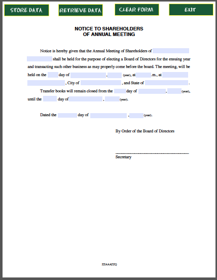 Example letter of notice of meeting minutes of meeting for Minutes of shareholders meeting template