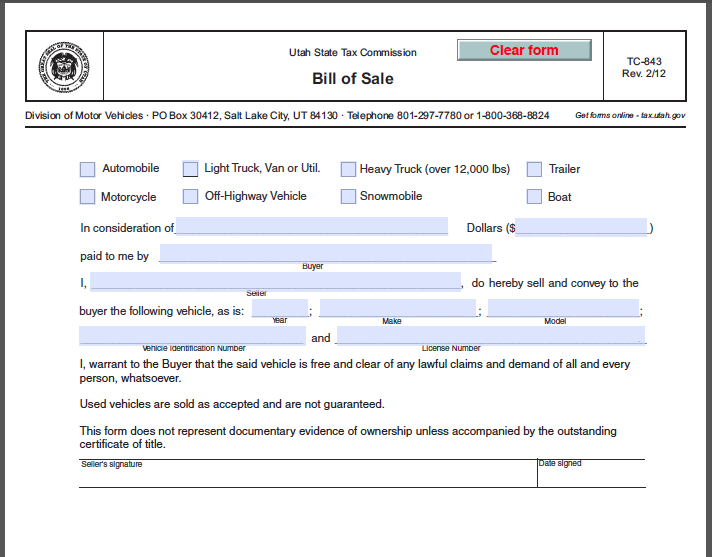 Auto Bill Of Sale As Is No Warranty: Utah Bill Of Sale Form - Free Fillable PDF Forms