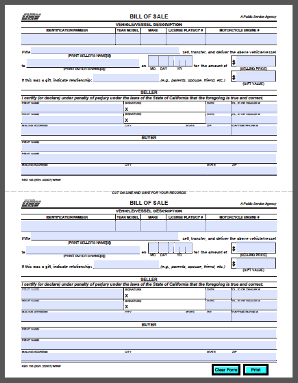 California vehicle bill of sale form free fillable pdf for Bill of sale template wa