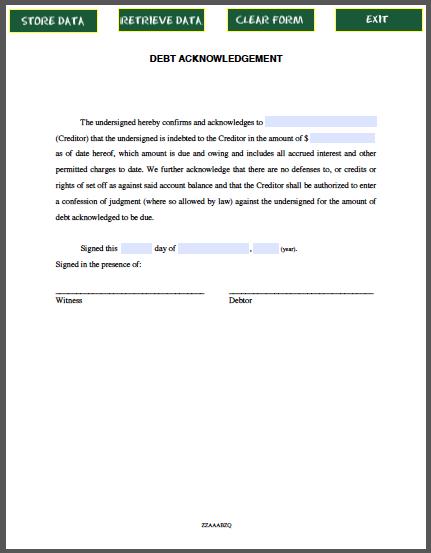 Debt acknowledgement for Template acknowledgement of debt