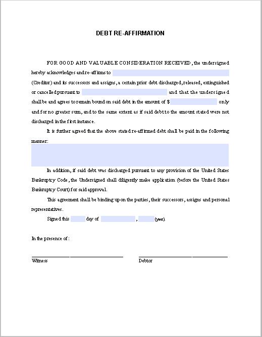 Debt Re-Affirmation Agreement