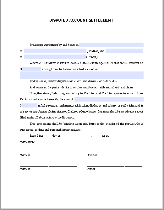 Disputed Account Settlement Agreement Template