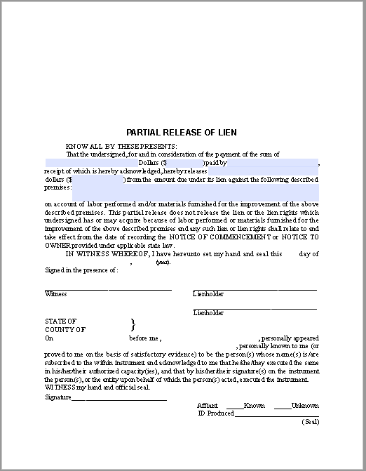 bill of sale with lien template - partial release of lien certificate template free