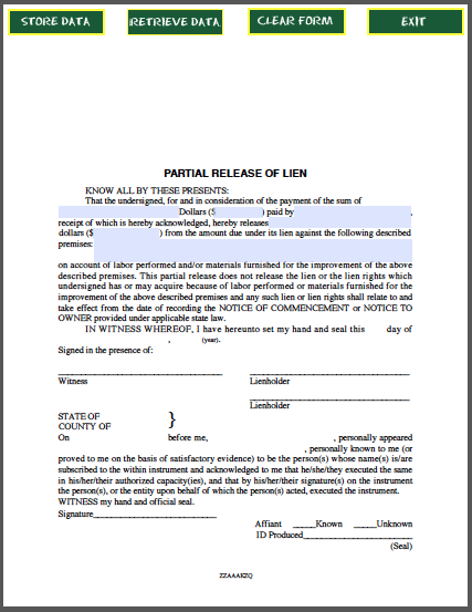 partial lien waiver template - partial release of lien certificate template free