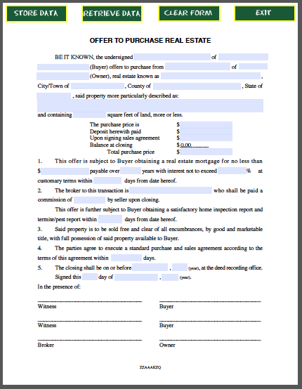 property listing form template