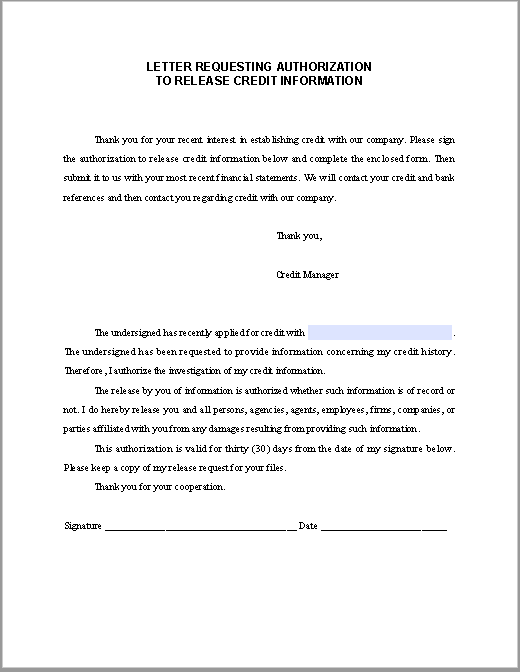 Letter Requesting Authorization To Release Credit Information