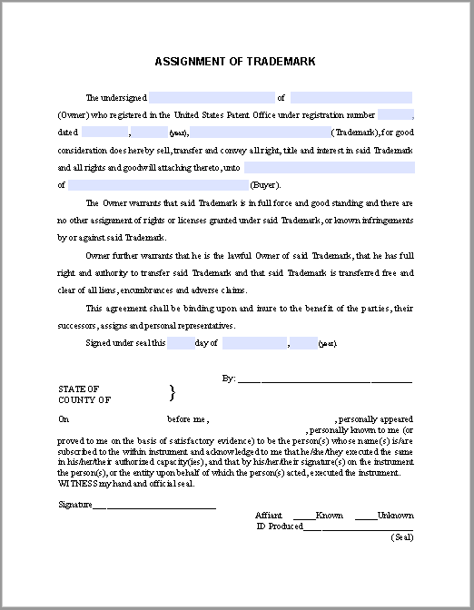 Trademark Assignment Certificate Template