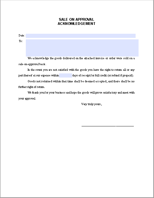 Sale-on-approval Acknowledgement Letter
