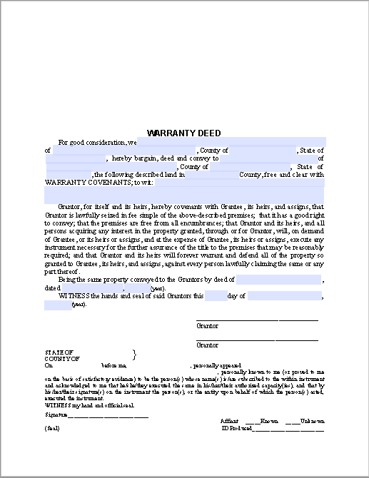 Warranty deed form free fillable pdf forms free for Deed of conveyance template