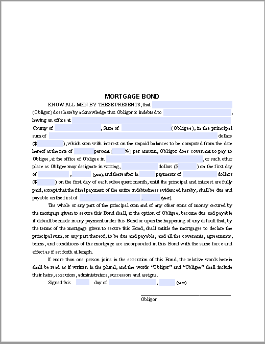 Mortgage Bond Form