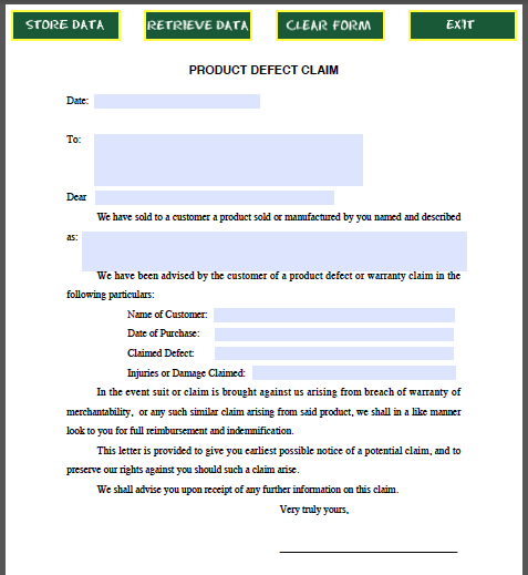 Product Defect Claim Form