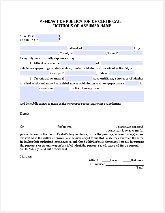 Affidavit Form Publication-Certificate Fictitious Name