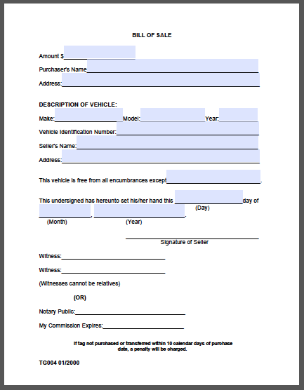 bill of sale form  madison county