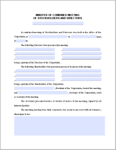 Combined Meeting Minutes Template