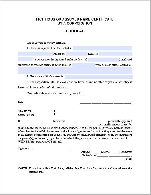 Corporation Certificate Template