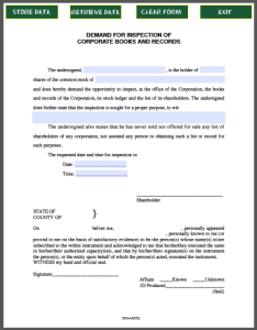 Inspection Demand Form Corporate Books
