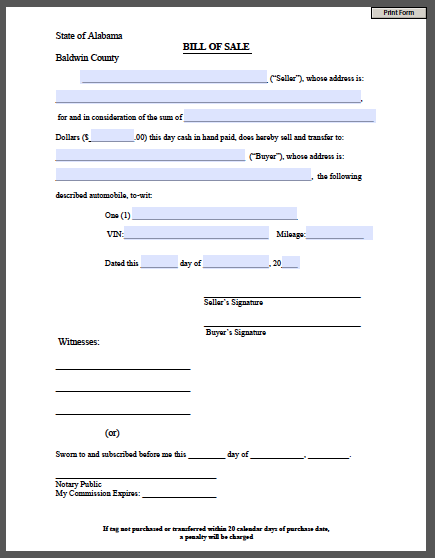Printable Bill of Sale Form