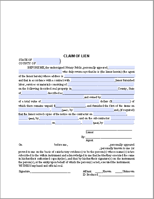 Claim of Lien Certificate Template