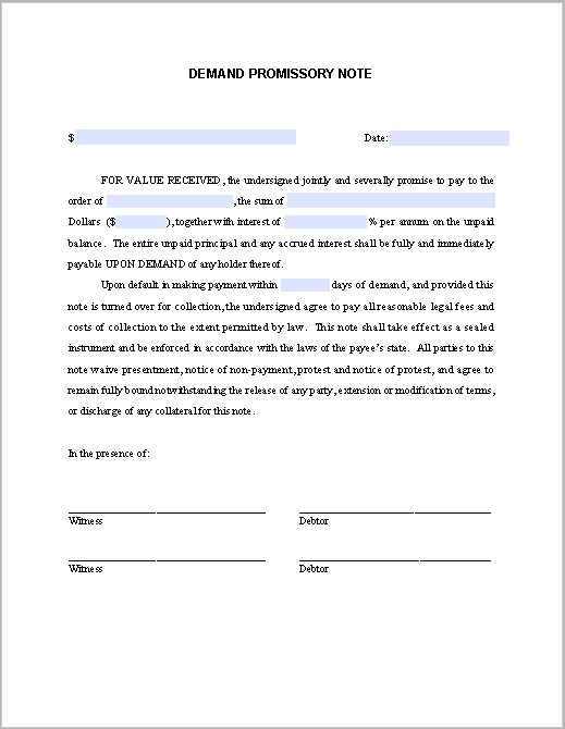 Demand Promissory Note