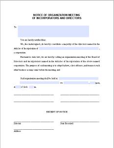 Incorporators Directors Meeting Notice