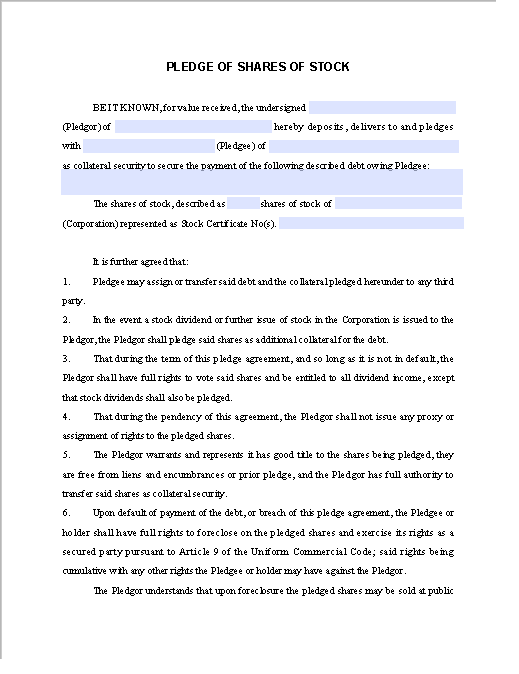 Pledge Contract Template for Share of Stock