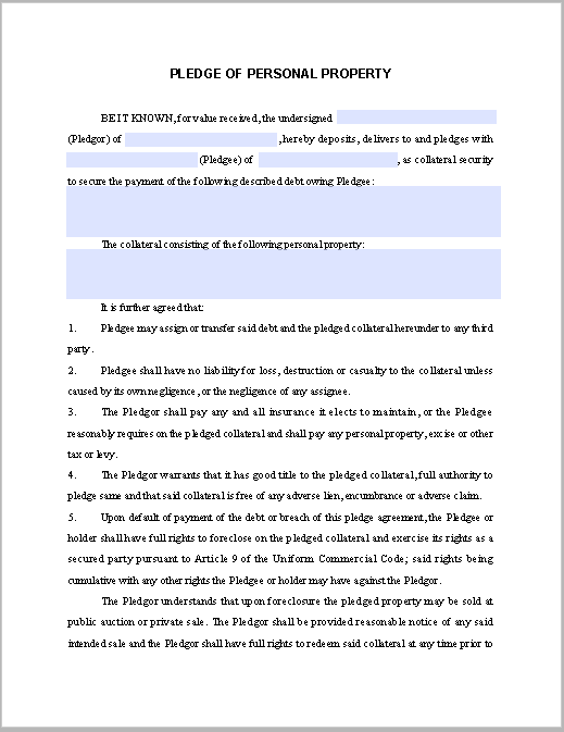 Pledge Personal Property Contract Template