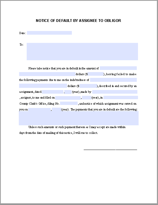 Sample Notice of Default By Assignee To Obligor