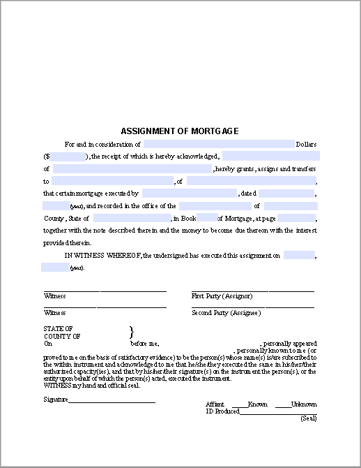 Mortgage Assignment Notice