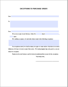 Letter Exceptions Purchase Order