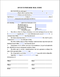 Real Estate Purchase Offer Form