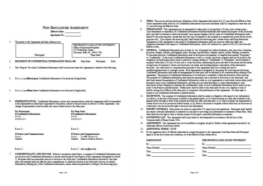 Non Disclosure Agreement Templates 21 Free Pdf Samples