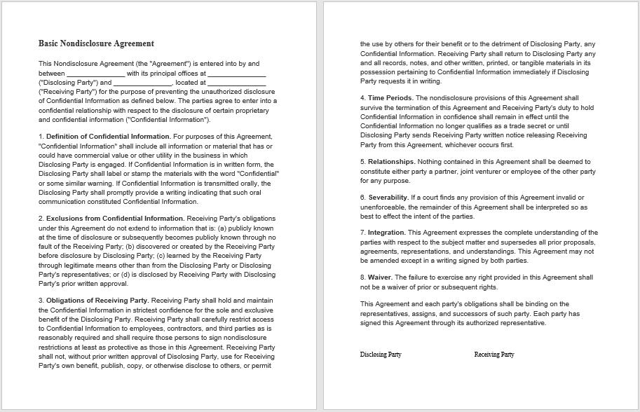 Non Disclosure Agreement Templates 21 Free Pdf Samples