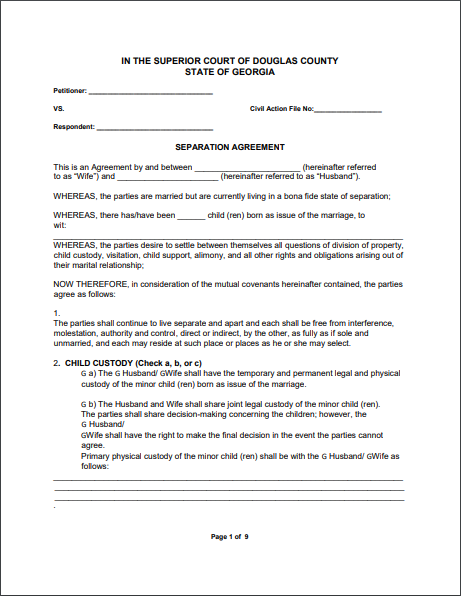 Separation Agreement Template 05