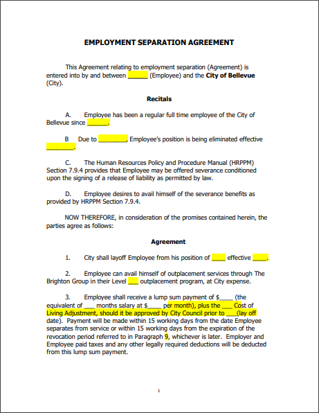 Separation Agreement Template 06