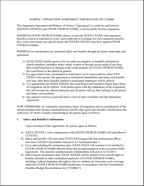 Separation Agreement Template 13