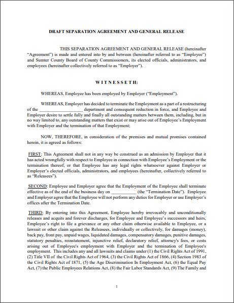 Separation Agreement Template 14