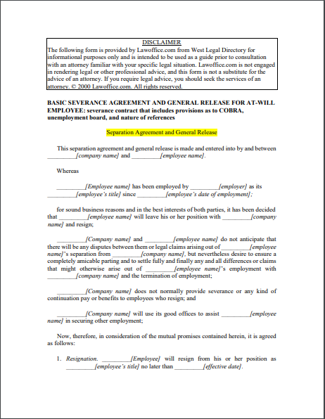 Separation Agreement Template 19