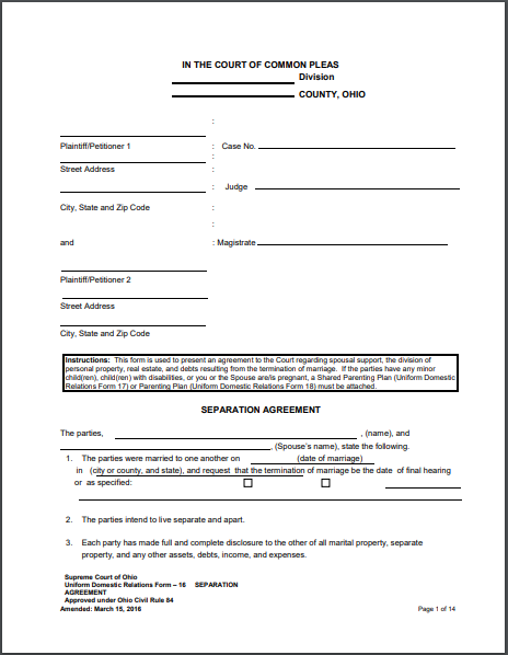 Separation Agreement Template 21