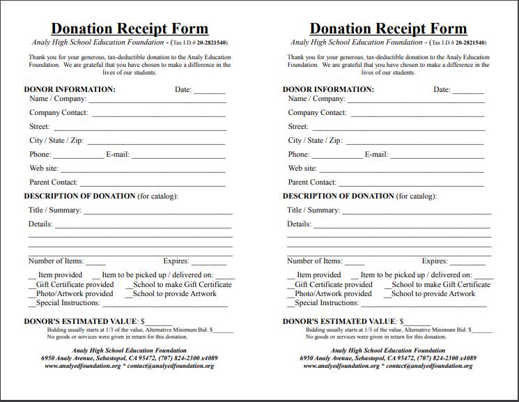 donation receipt template 18