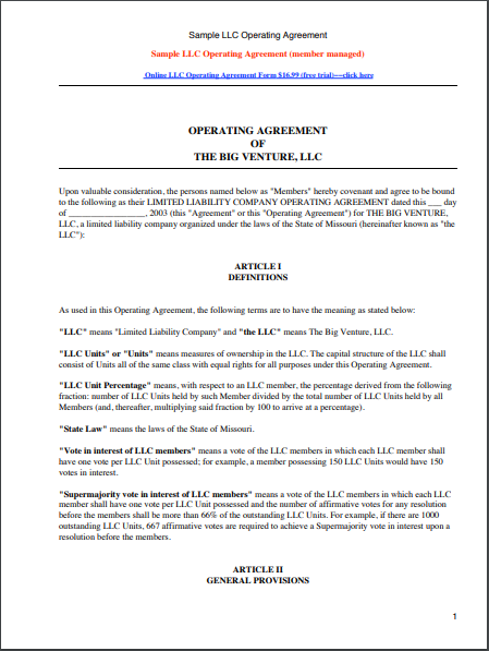 13 Free Llc Agreement Templates Samples Free Fillable