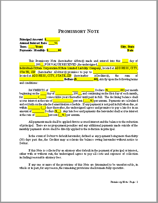 promissory note template 18