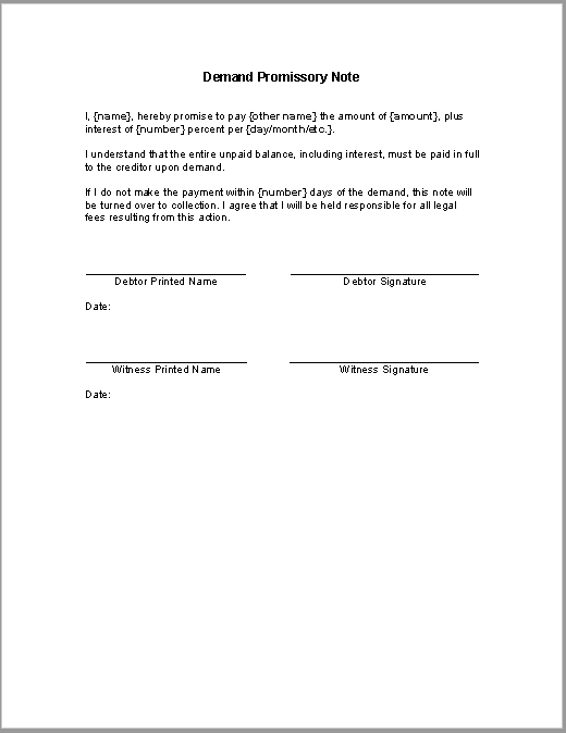promissory note template 28