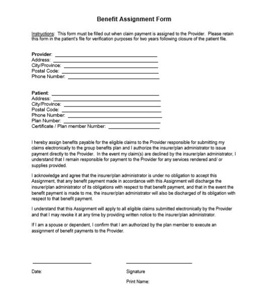 Benefit Assignment Form