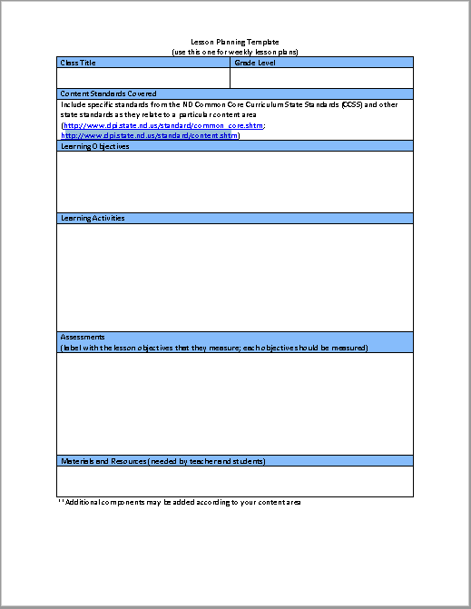 Lesson Plan Template 12