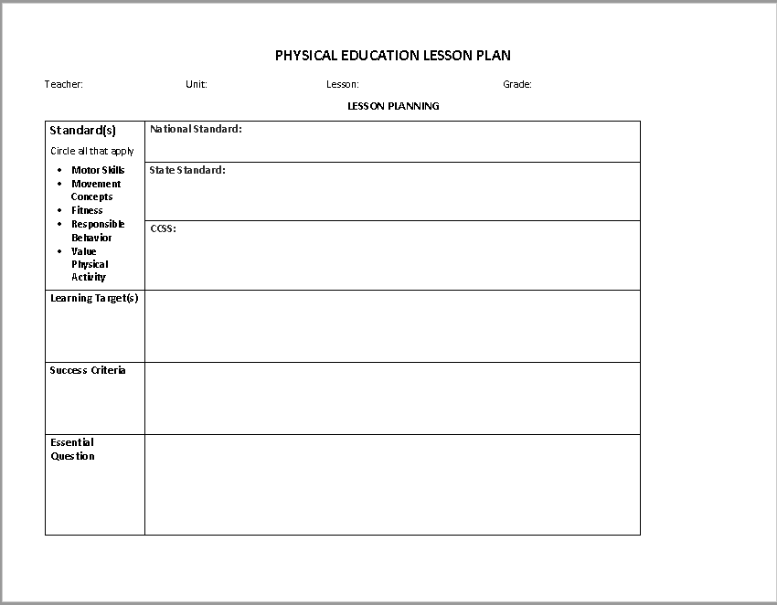 Lesson Plan Template 19